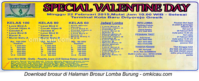 Brosur Lomba Burung Berkicau Special Valentine Day, Gresik, 22 Februari 2015