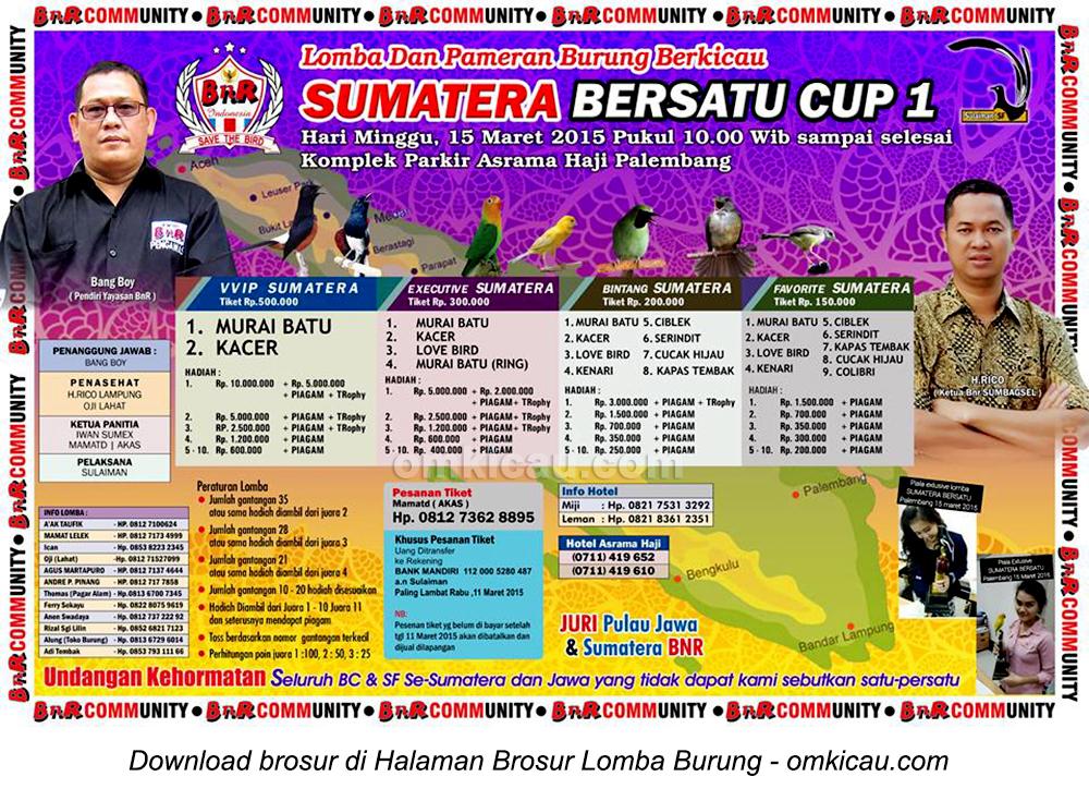 Brosur Lomba Burung Berkicau Sumatera Bersatu Cup 1, Palembang, 15 Maret 2015