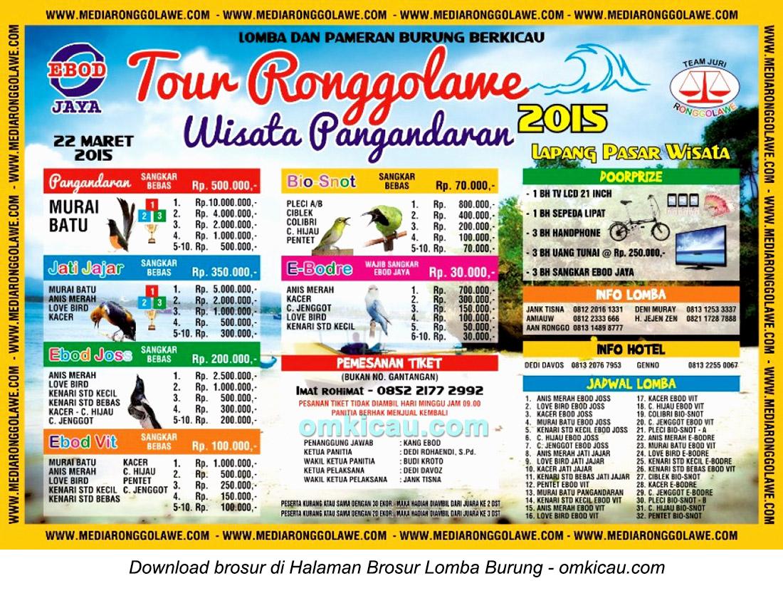 Brosur Lomba Burung Berkicau Tour Ronggolawe Wisata Pangandaran, 22 Maret 2015
