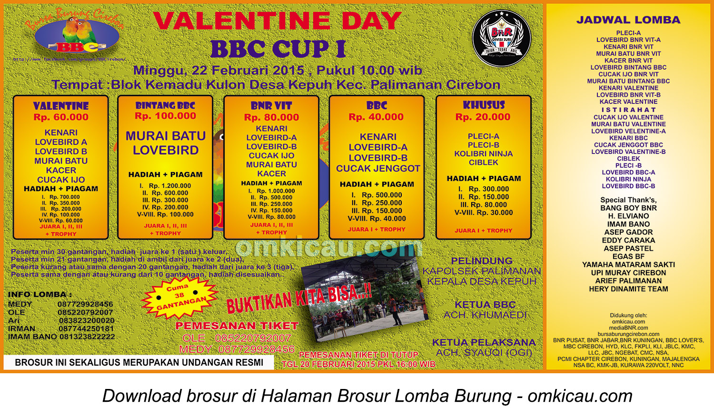 Brosur Lomba Burung Berkicau Valentine Day BBC Cup I, Cirebon, 22 Februari 2015