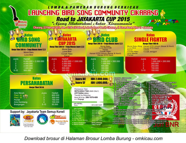 Brosur Lomba Burung Launching Bird Song Community Cikarang, Bekasi, 22 Februari 2015