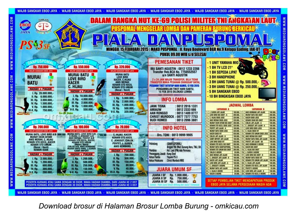 Brosur Lomba Burung Piala Danpuspomal, Jakarta, 15 Februari 2015