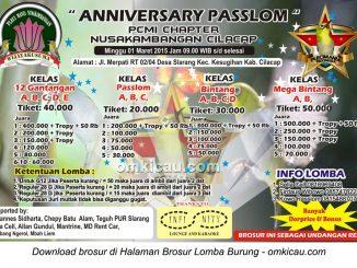 Brosur Lomba Burung Pleci Anniversary Passlom, Cilacap, 1 Maret 2015