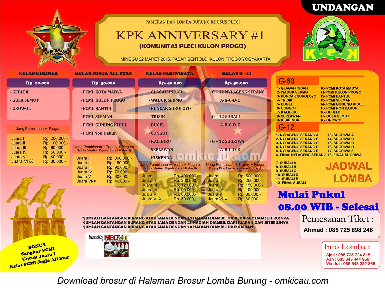 Brosur lomba burung pleci KPK Anniversary #1, Kulonprogo, 22 Maret 2015