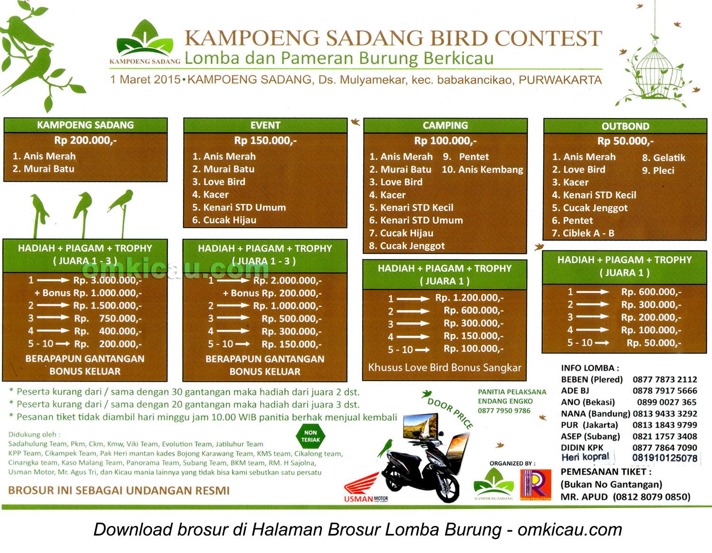Brosur Lomba Kampung Sadang Bird Contest, Purwakarta, 1 Maret 2015