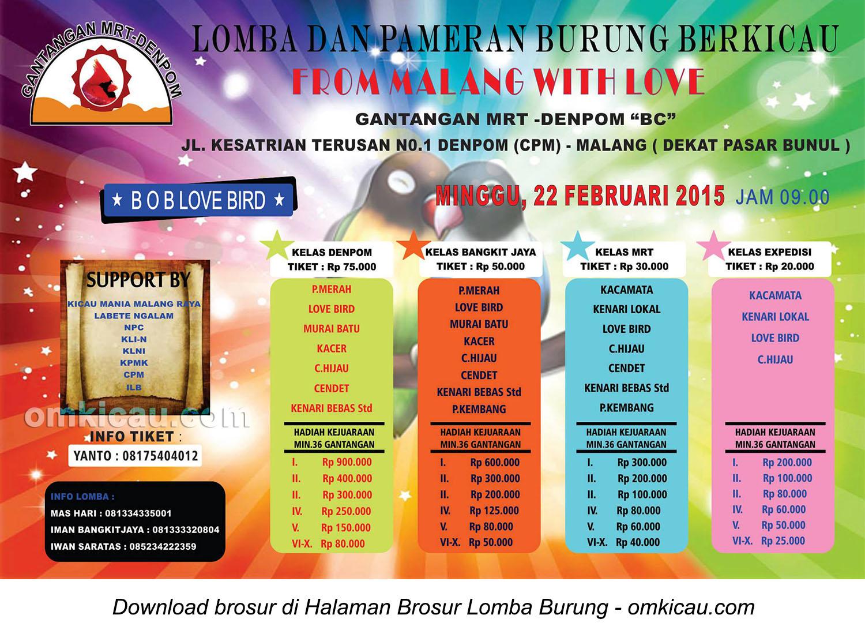 Brosur Lomba-Pameran Burung Berkicau From Malang With Love, 22 Februari 2015