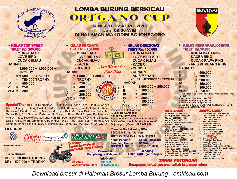 Brosur terbaru lomba burung berkicau Oregano Cup, Bojonegoro, 12 April 2015