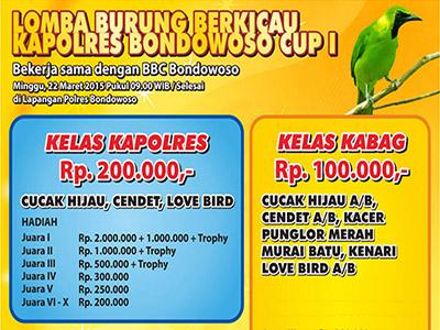 Lomba burung Kapolres Bondowoso Cup