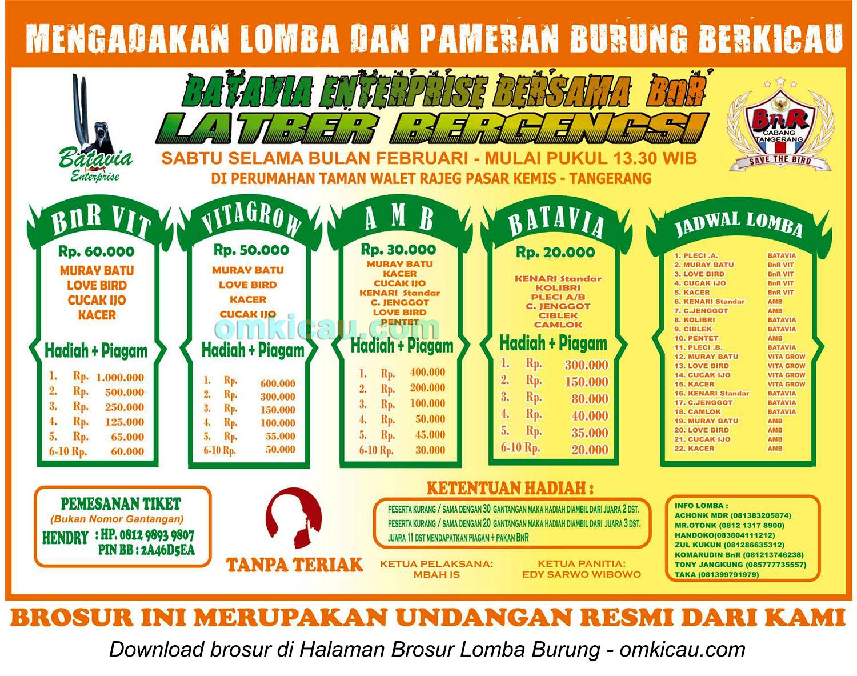 Jadwal latber Batavia Enterprise selama Februari 2015
