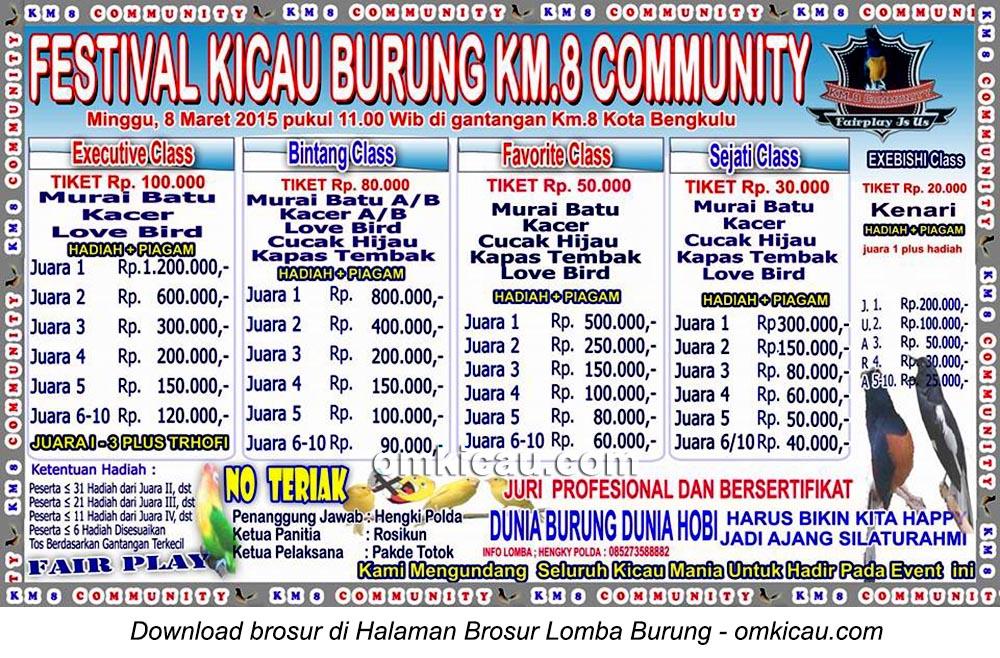 Brosur Festival Kicau Burung Km8 Community, Kota Bengkulu, 8 Maret 2015