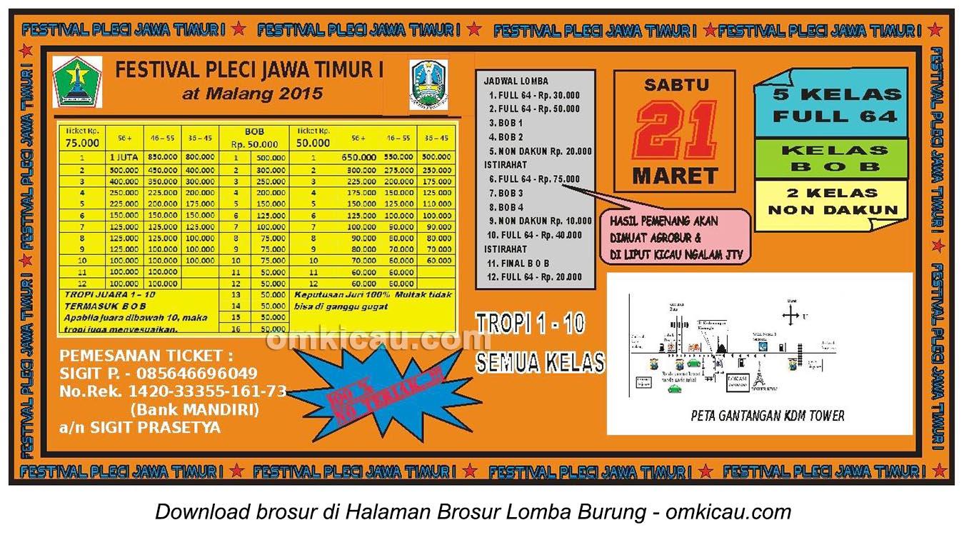 Brosur Festival Pleci Jawa Timur I, Malang, 21 Maret 2015