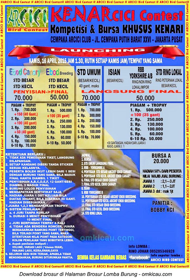 Brosur Kompetisi dan Bursa Khusus Kenari-Kenarcici Contest, Jakarta, 16 April 2015