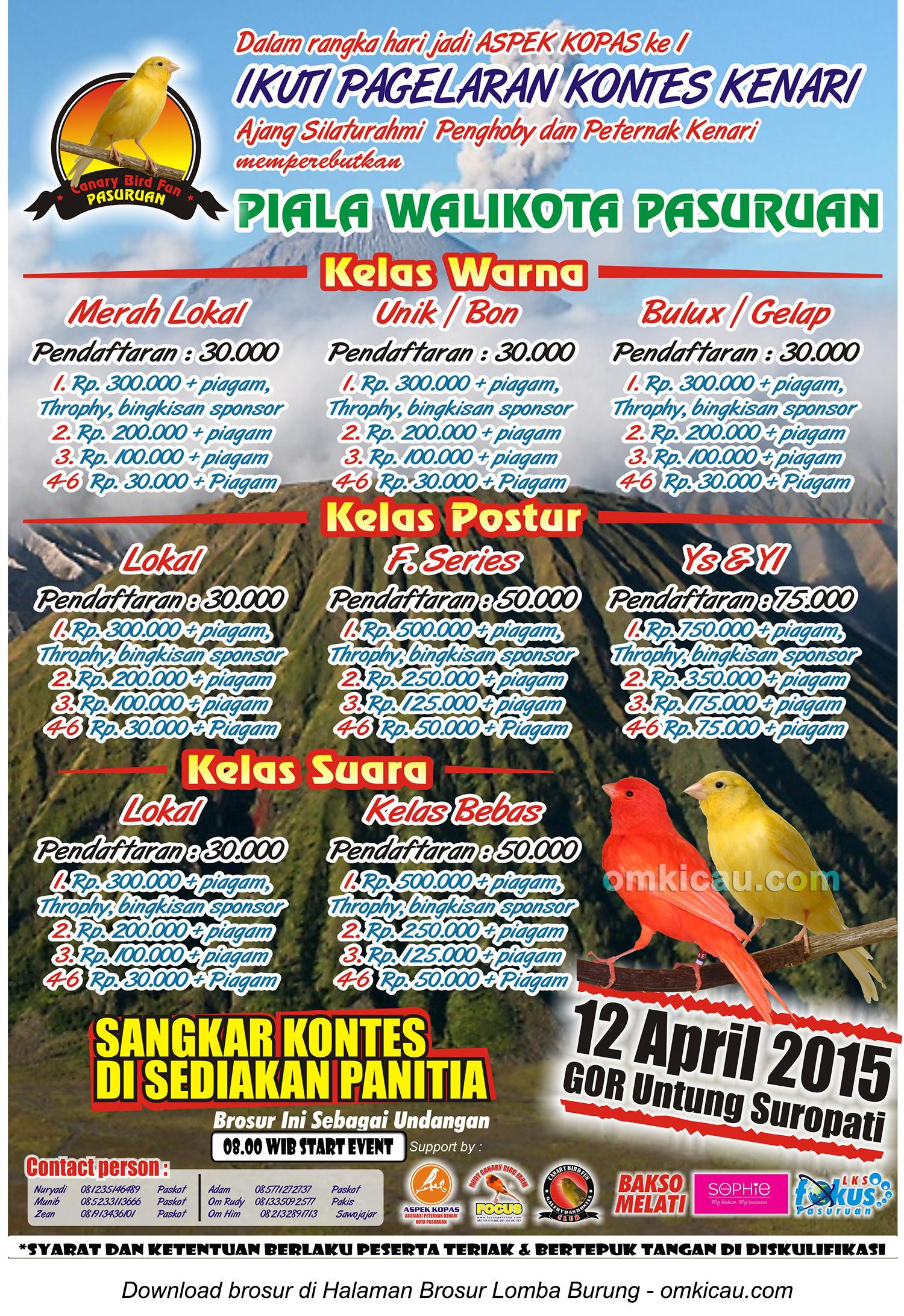 Brosur Kontes Kenari Piala Wali Kota Pasuruan, 12 April 2015