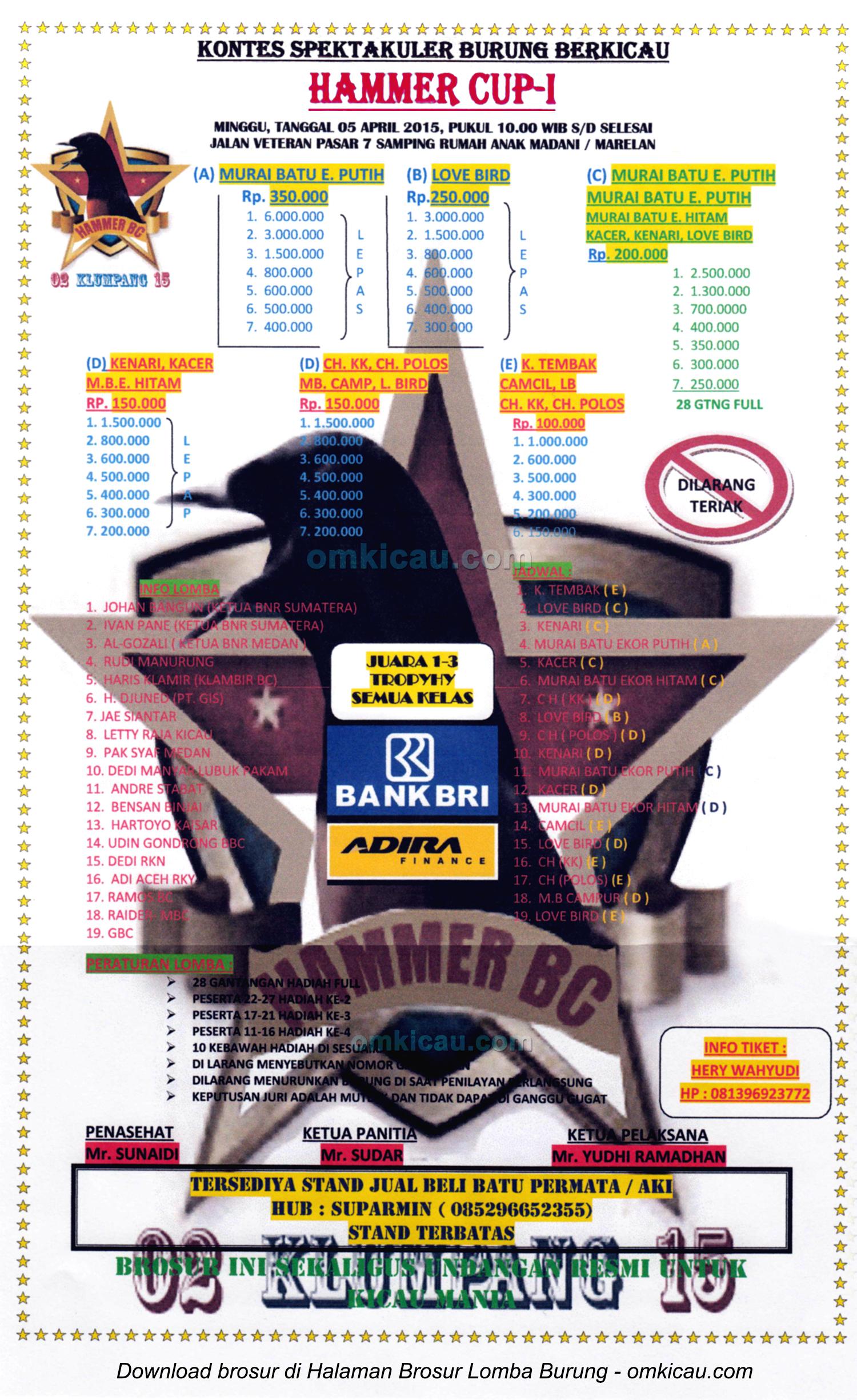 Brosur Kontes Spektakuler Burung Berkicau Hammer Cup I, Medan, 5 April 2015