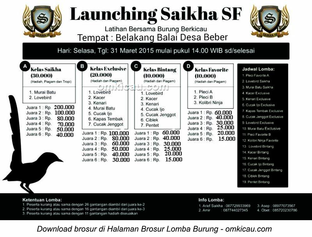 Brosur Latber Burung Berkicau Launching Saikha SF, Cirebon, 31 Maret 2015