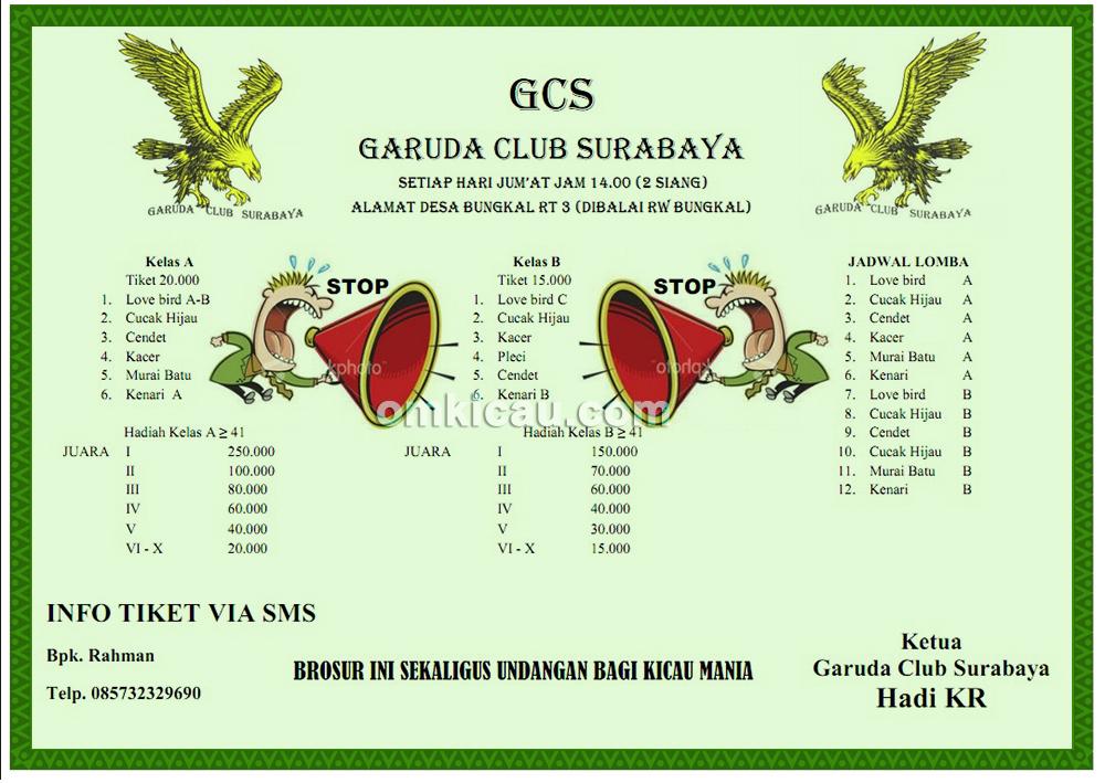 Brosur Latber Garuda Club Surabaya setiap Jumat pukul 14