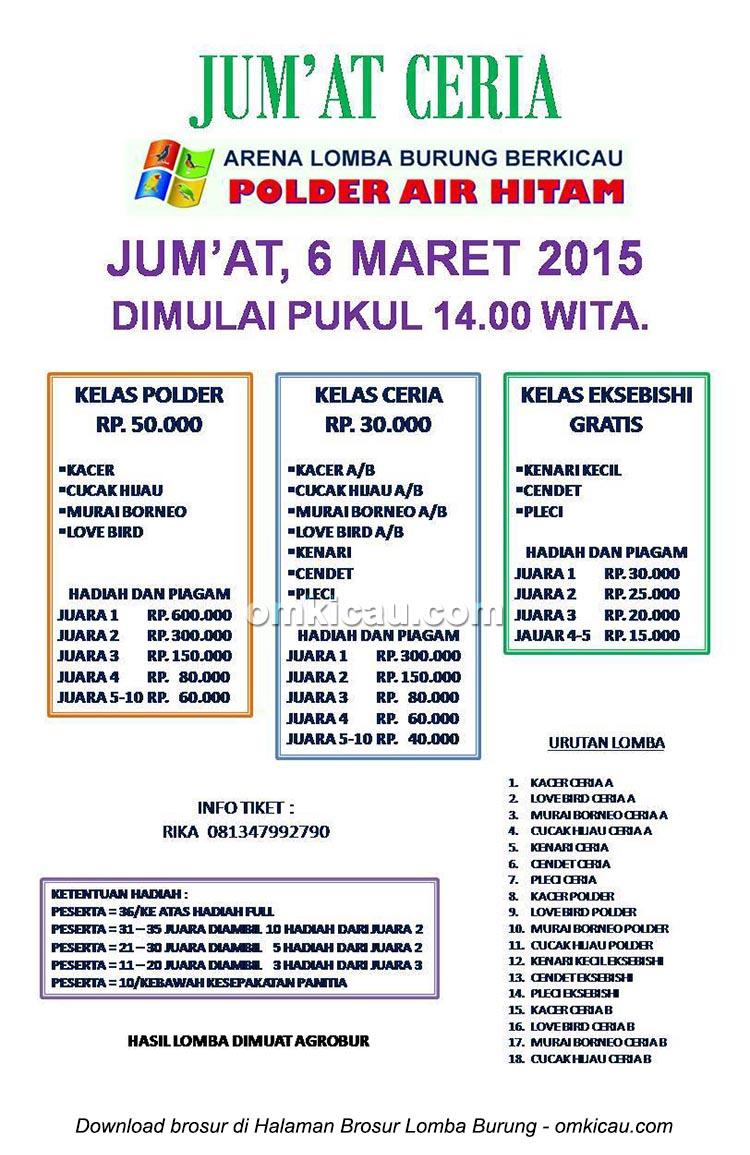 Brosur Latber Jumat Ceria Polder Air Hitam, Samarinda, 6 Maret 2015