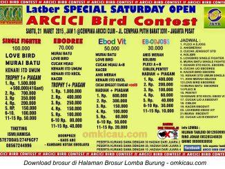 Brosur Latber Special Saturday Open Arcici Bird Contest, Jakarta, 21 Maret 2015