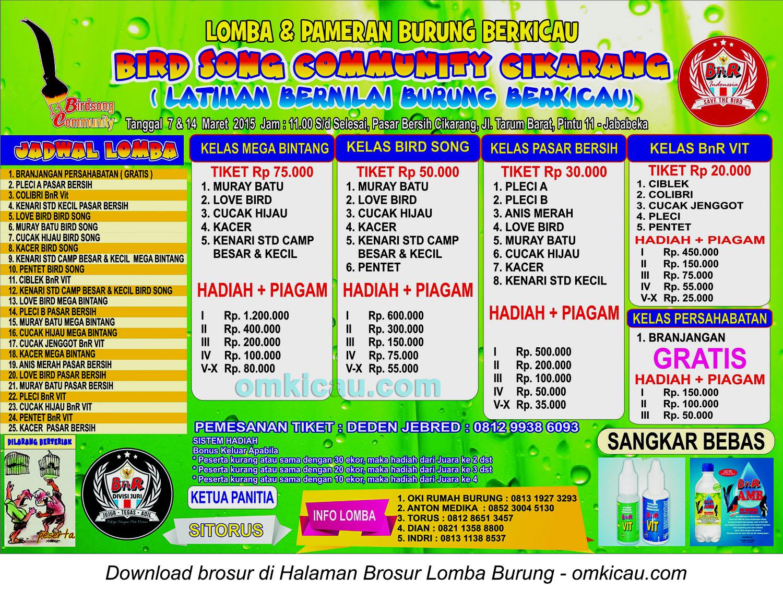 Brosur Latihan Bernilai Bird Song Community, Cikarang, 7-14 Maret 2015