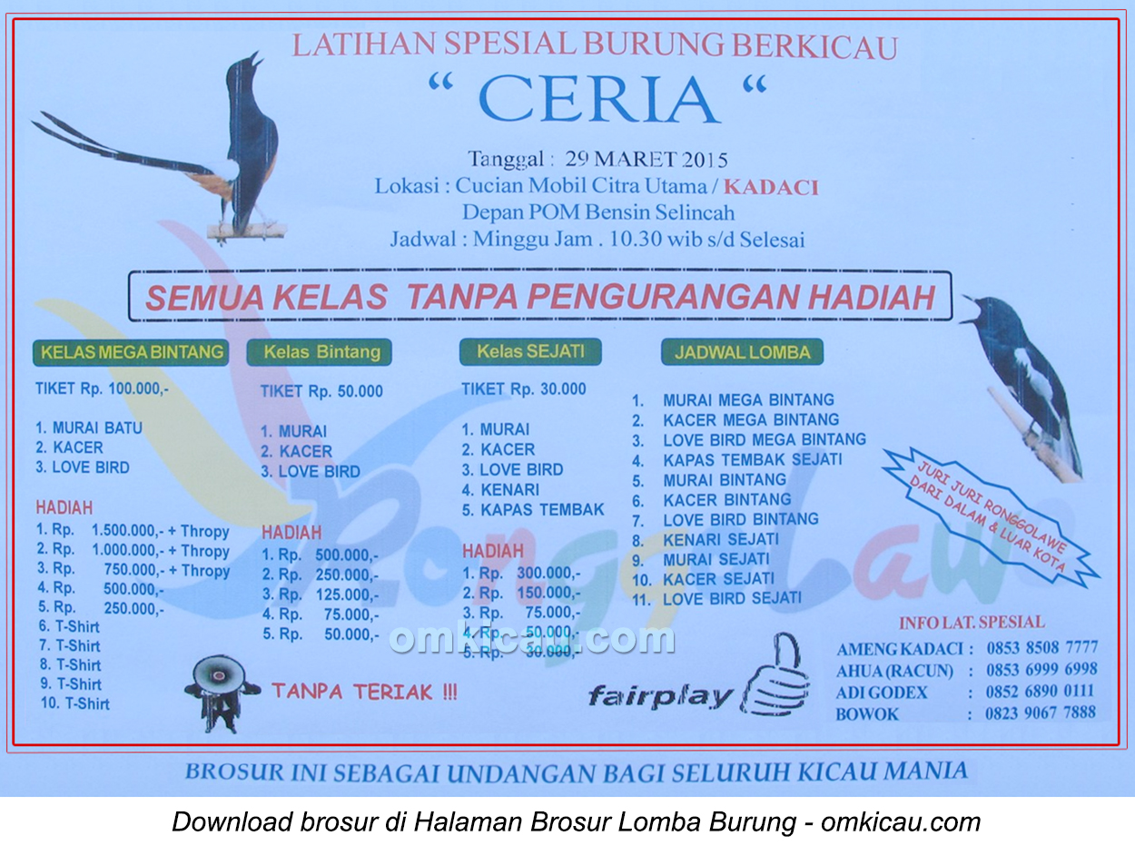 Brosur Latihan Spesial Ceria, Kota Jambi, 29 Maret 2015