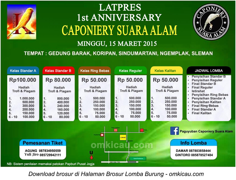 Brosur Latpres 1st Anniversary Caponniery Suara Alam, Sleman, 15 Maret 2015
