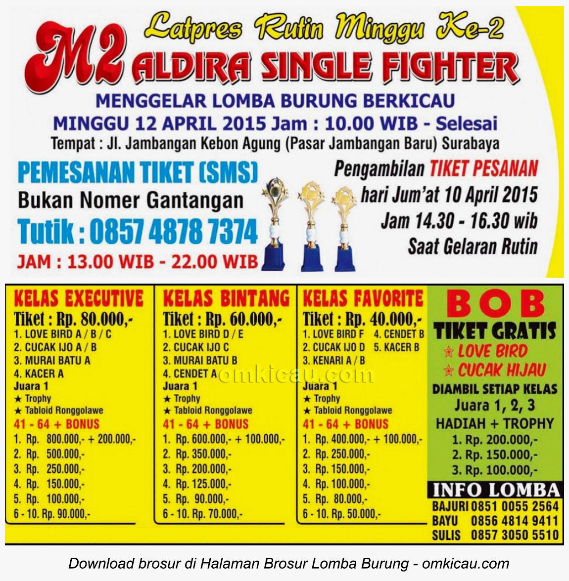 Brosur Latpres Aldira Single Fighter, Surabaya, 12 April 2015