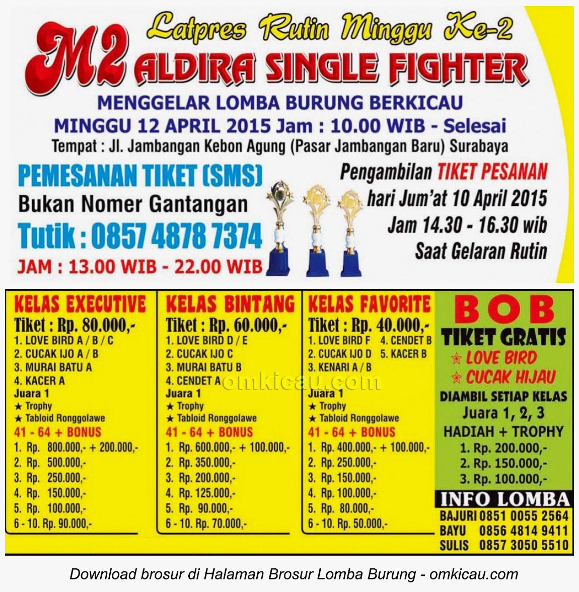 Brosur Latpres Aldira Single Fighter, Surabaya, 12 April 2015
