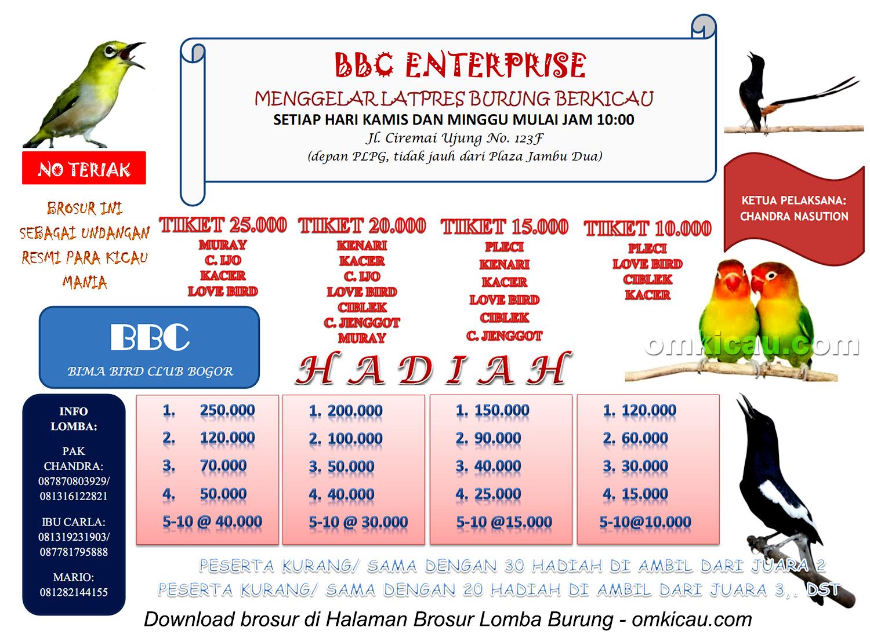 Brosur Latpres BBC Enterprise Bogor - setiap Kamis dan Minggu mulai jam 10