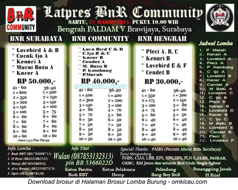 Brosur Latpres BnR Community, Surabaya, 21 Maret 2015