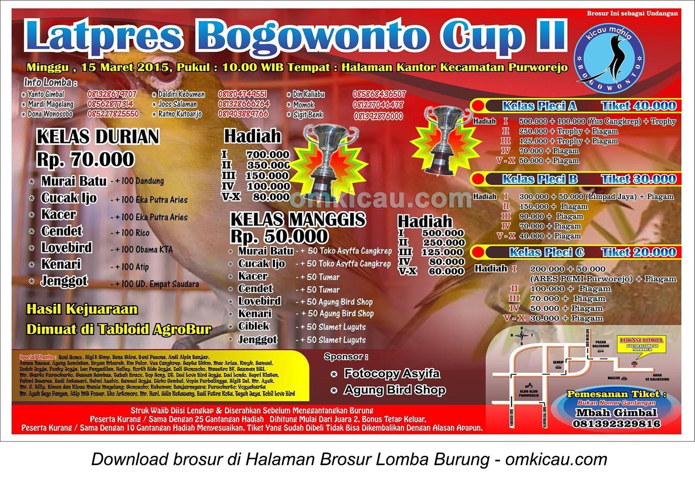 Brosur Latpres Burung Berkicau Bogowonto Cup II, Purworejo, 15 Maret 2015