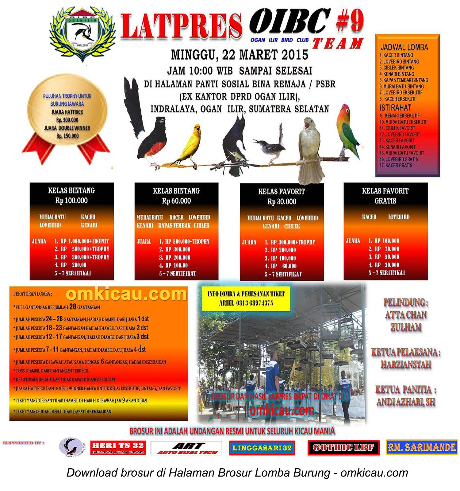 Brosur Latpres Burung Berkicau OIBC #9, Ogan Ilir, 22 Maret 2015