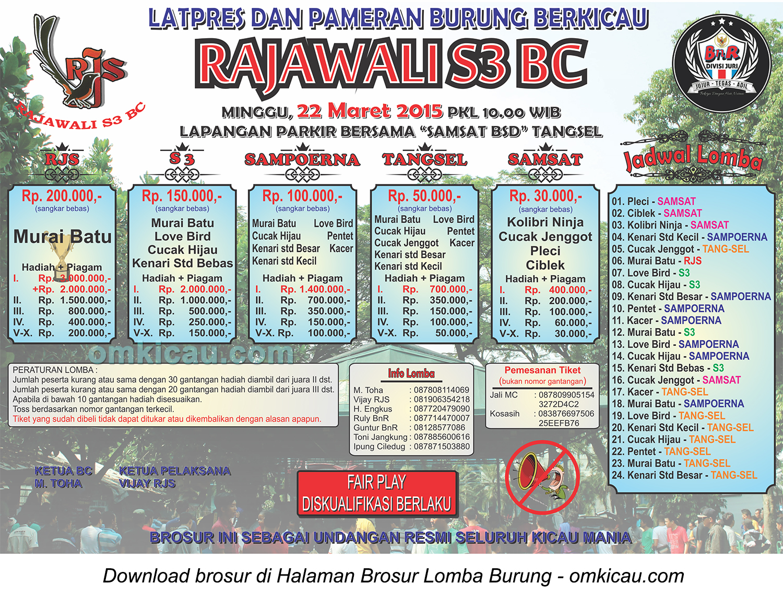 Brosur Latpres Burung Berkicau Rajawali S3 BC, Tangsel, 22 Maret 2015