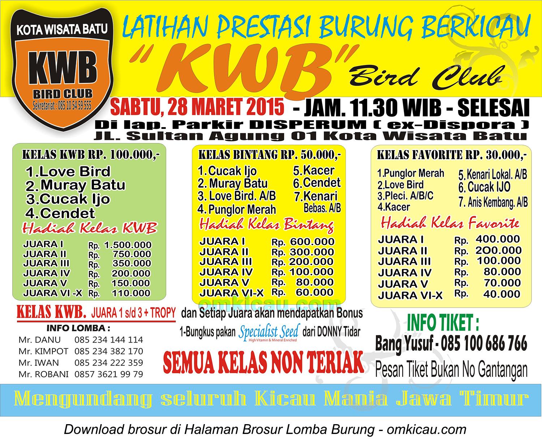 Brosur Latpres KWB Bird Club, Kota Batu, 28 Maret 2015