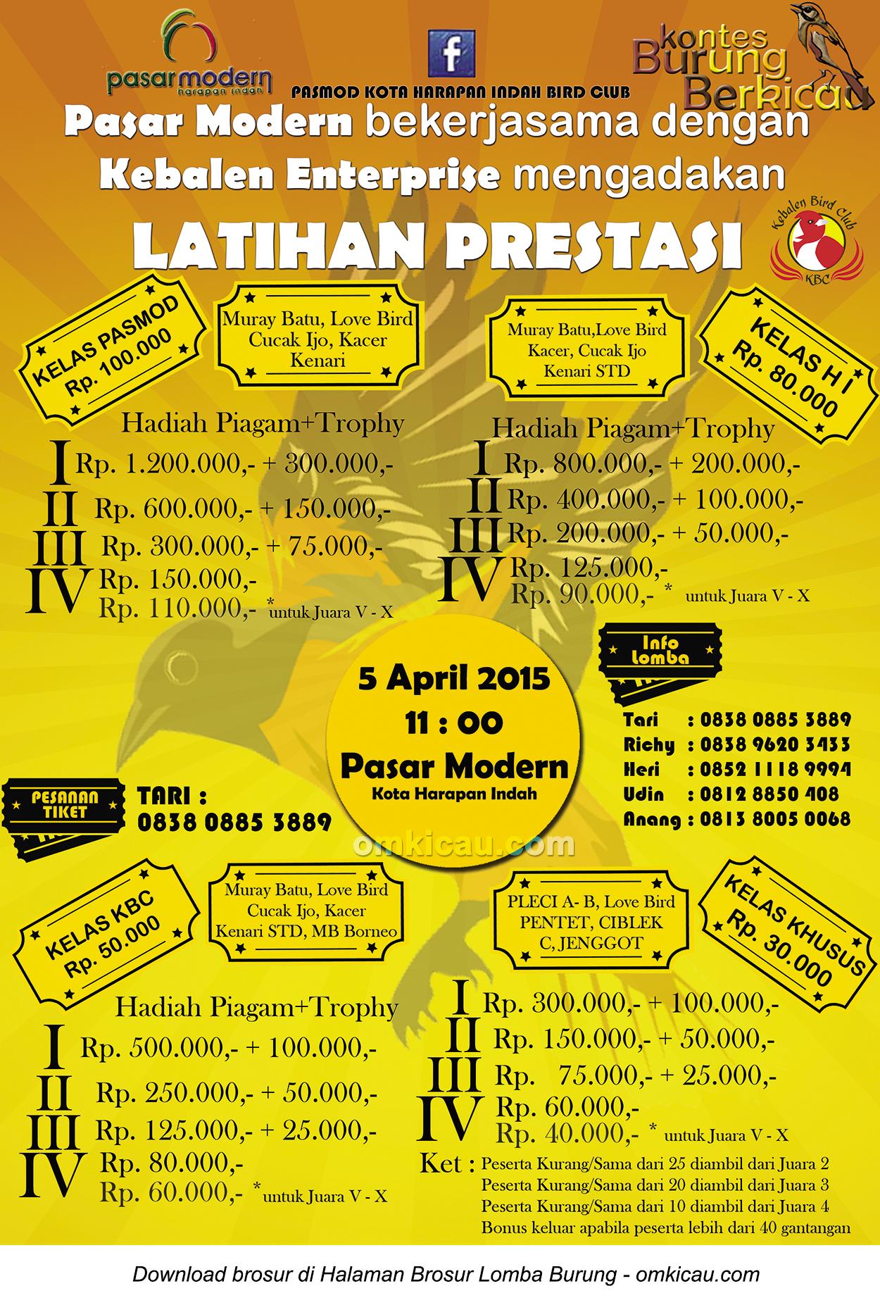 Brosur Latpres Pasar Modern Kota Harapan Indah, Bekasi, 5 April 2015