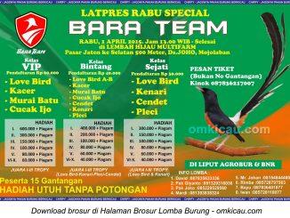 Brosur Latpres Rabu Special Bara Team, Sukoharjo, 1 April 2015
