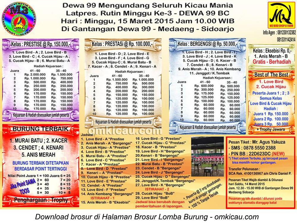 Brosur Latpres Rutin Dewa 99, Sidoarjo, 15 Maret 2015