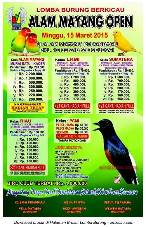 Brosur Lomba Burung Berkicau Alam Mayang Open, Pekanbaru, 15 Maret 2015