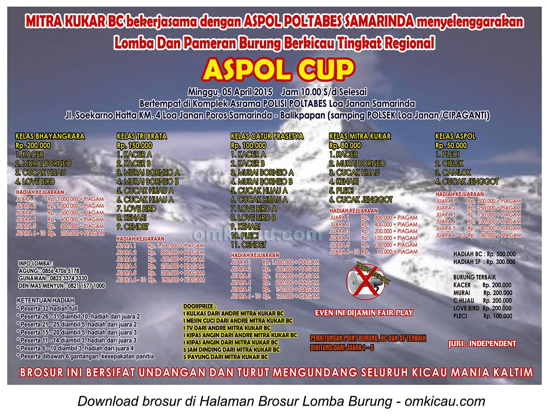 Brosur Lomba Burung Berkicau Aspol Cup, Samarinda, 5 April 2015