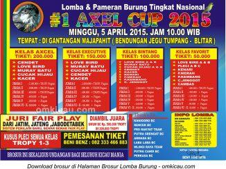 Brosur Lomba Burung Berkicau Axel Cup, Blitar, 5 April 2015