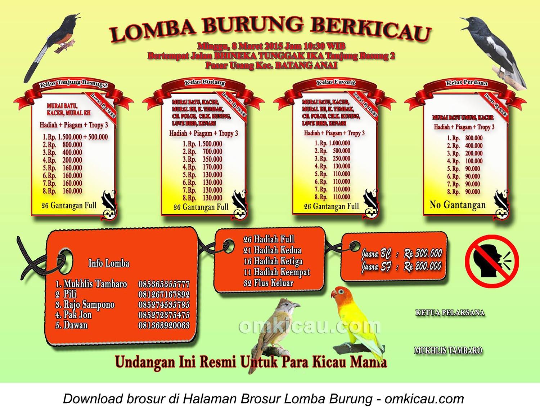 Brosur Lomba Burung Berkicau Batang Anai, Padang Pariaman, 8 Maret 2015
