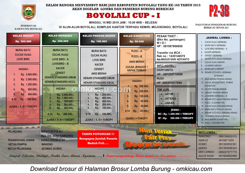 Brosur Lomba Burung Berkicau Boyolali Cup - I, Boyolali, 10 Mei 2015