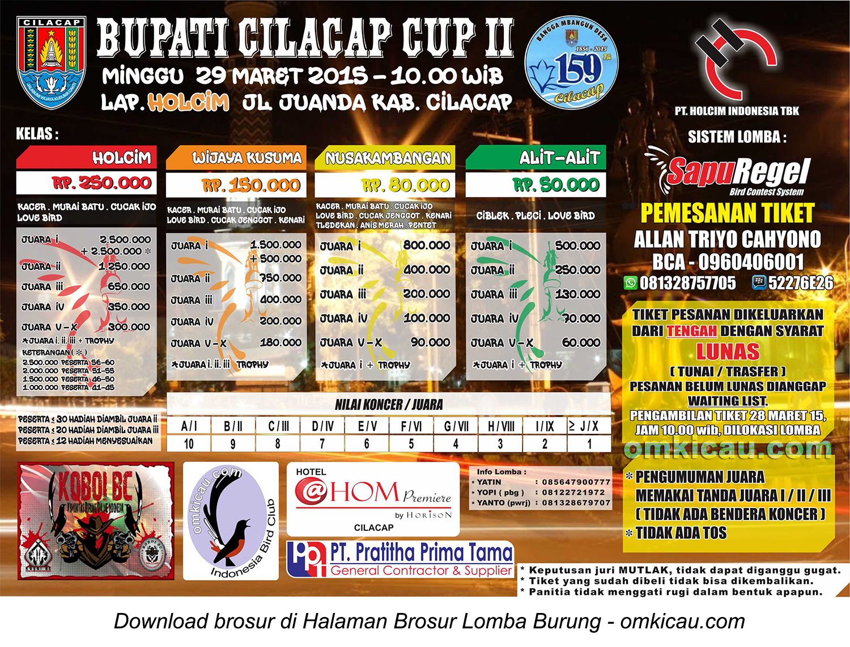 Brosur Lomba Burung Berkicau Bupati Cilacap Cup II, Cilacap, 29 Maret 2015.