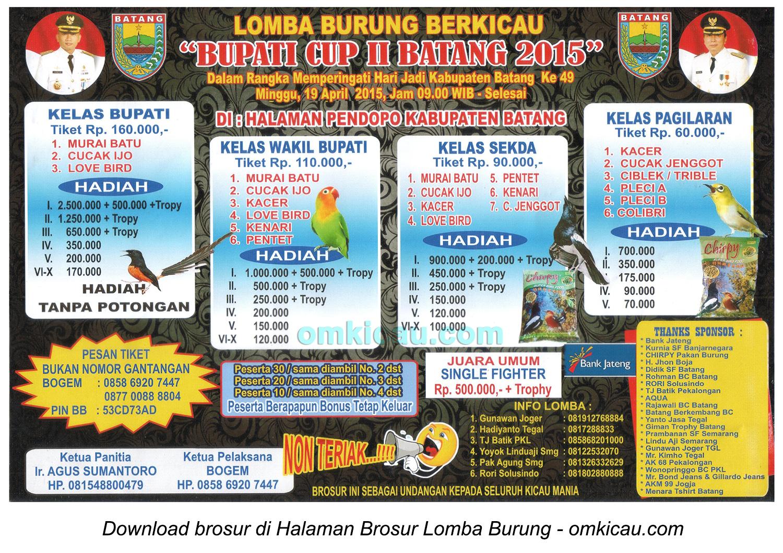 Brosur Lomba Burung Berkicau Bupati Cup II, Batang, 19 April 2015