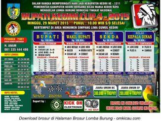 Brosur Lomba Burung Berkicau Bupati Kediri Cup 4, Kediri, 29 Maret 2015