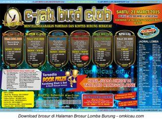 Brosur Lomba Burung Berkicau C-Jati Bird Club, Bekasi, 21 Maret 2015