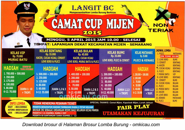 Brosur Lomba Burung Berkicau Camat Cup Mijen, Semarang, 5 April 2015