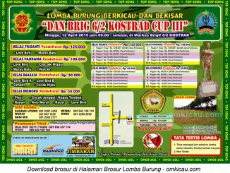 Brosur Lomba Burung Berkicau Dan Brig 6-2 Kostrad Cup III, Solo, 12 April 2015