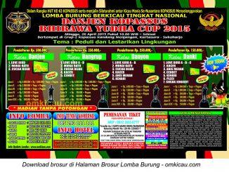 Brosur Lomba Burung Berkicau Danjen Kopassus Bhirawa Yudha Cup, Sukoharjo, 26 April 2015