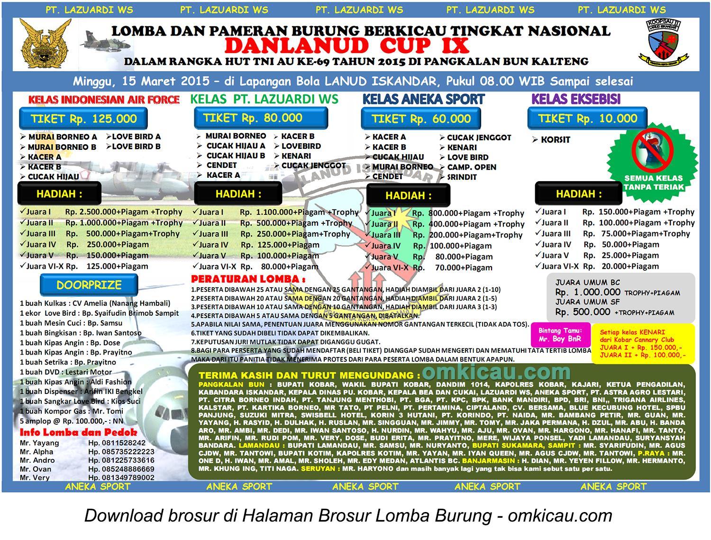 Brosur Lomba Burung Berkicau Danlanud Cup IX, Pangkalanbun, 15 Maret 2015