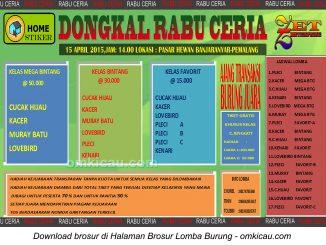 Brosur Lomba Burung Berkicau Dongkal Rabu Ceria, Pemalang, 15 April 2015